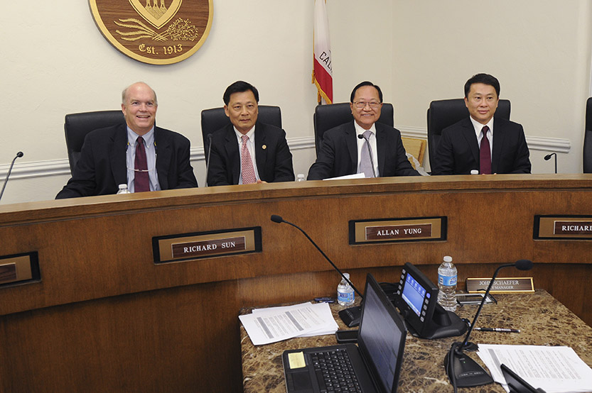 New councilors Steve Talt, far left, and Dr. Steven Huang, far right, join Dr. Richard Sun, second from left, and Allan Yung on San Marino City Council on Wednesday evening. Not pictured: Councilman Richard Ward, Daryl Chan Photo